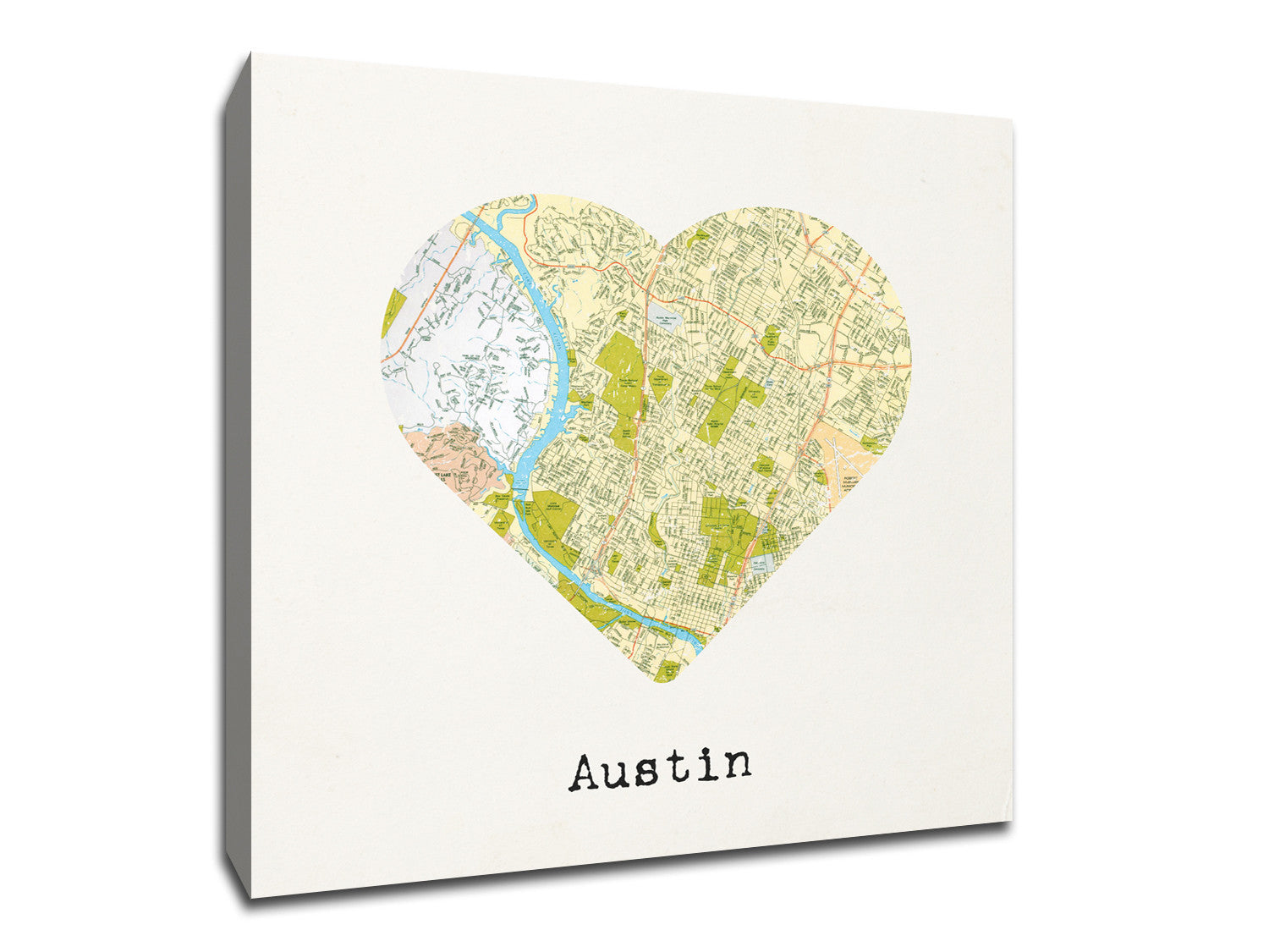 Austin map to my heart canvas weekly wall art a unique canvas showing love to your favorite city gumiabroncs Image collections
