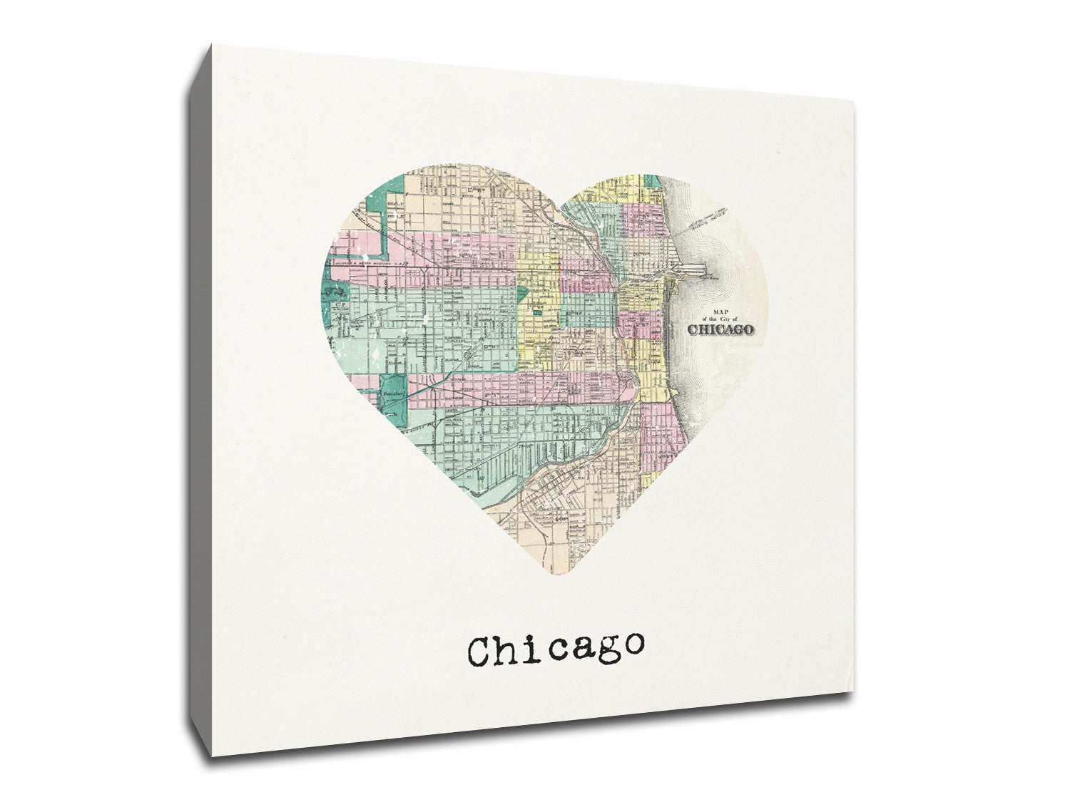 Chicago Map Canvas.Chicago Map To My Heart Canvas Weekly Wall Art