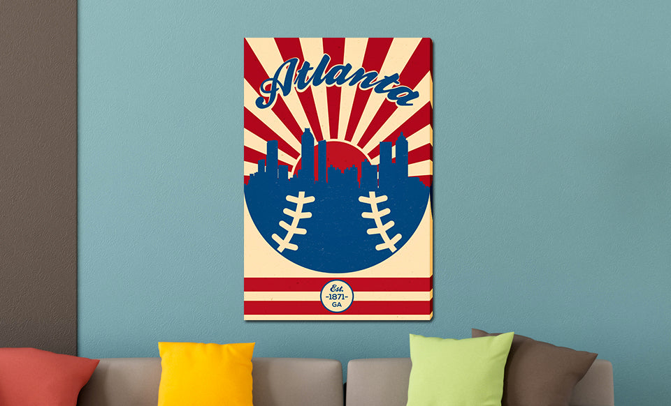 Atlanta - Vintage Baseball - Canvas Wall Art - Weekly Wall Art