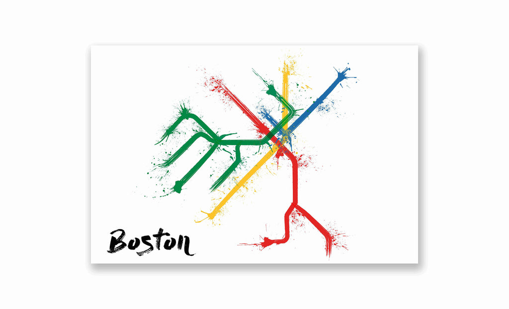 Boston Splatter Train Map Poster