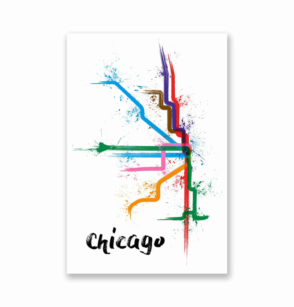 Chicago Splatter Train Map Poster