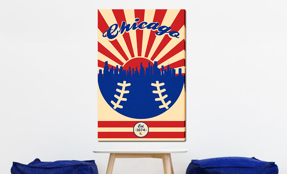 Chicago - Vintage Baseball - Canvas Wall Art
