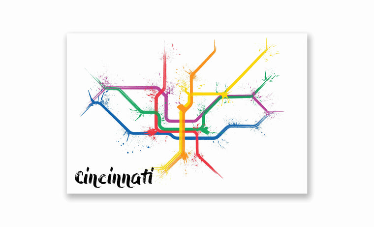 Cincinnati Splatter Train Map Poster