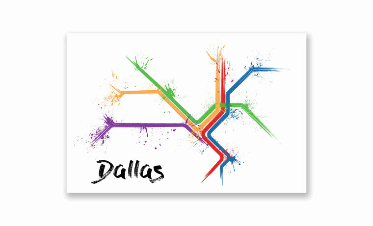 Dallas Splatter Train Map Poster