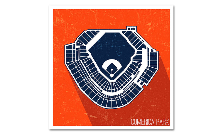 Detroit Baseball Ballpark Seat Map Poster