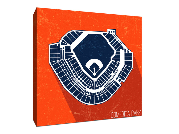 Detroit Baseball Ballpark Seat Map Canvas