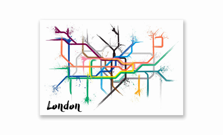 London Splatter Train Map Poster