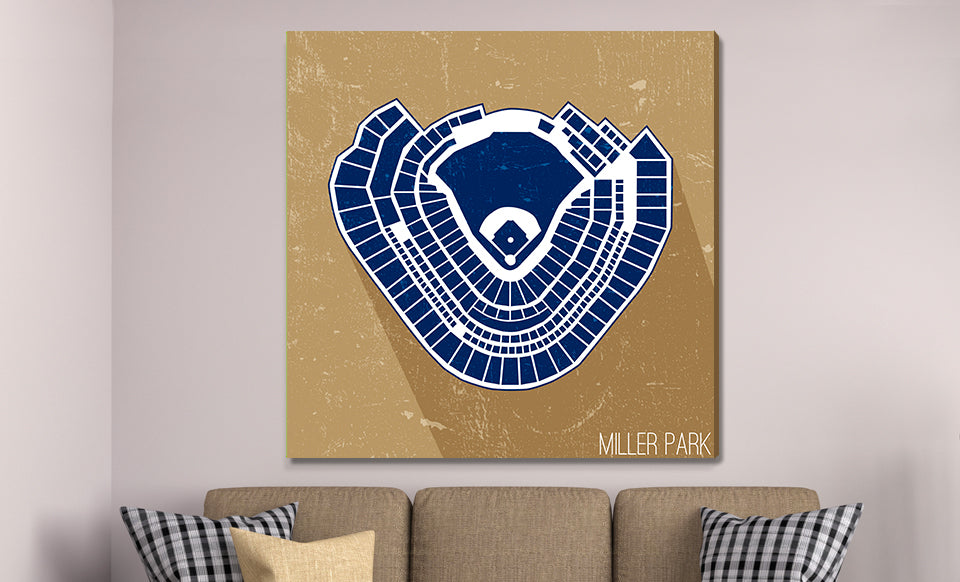 Milwaukee Baseball Ballpark Seat Map Canvas