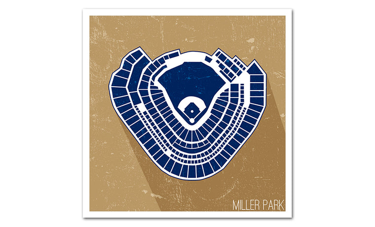 Milwaukee Baseball Ballpark Seat Map Poster