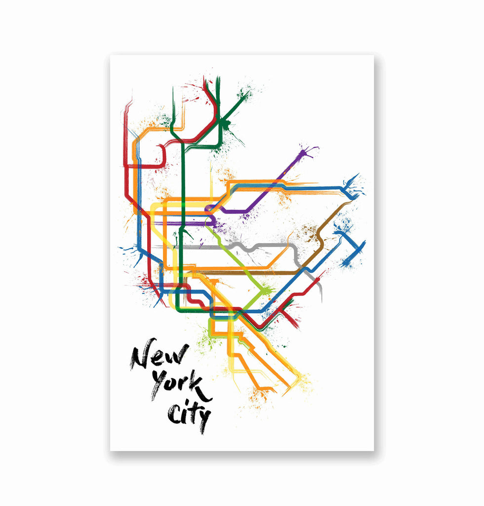 New York Splatter Train Map Poster