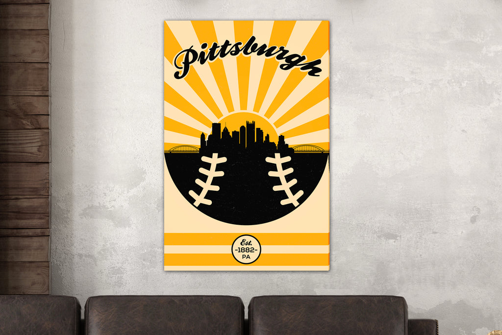 Pittsburgh - Vintage Baseball - Canvas Wall Art