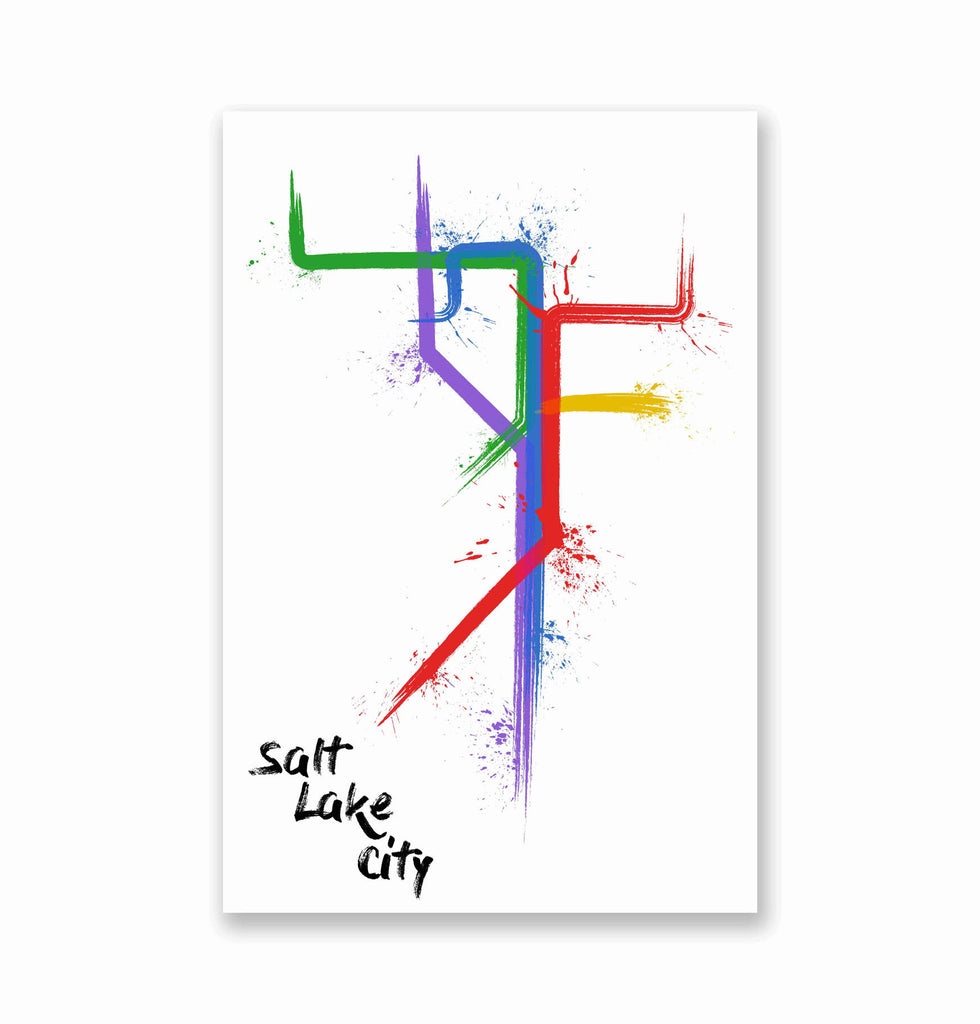 Salt Lake City Splatter Train Map Poster