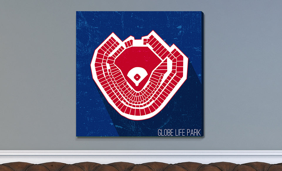 Texas Baseball Ballpark Seat Map Canvas