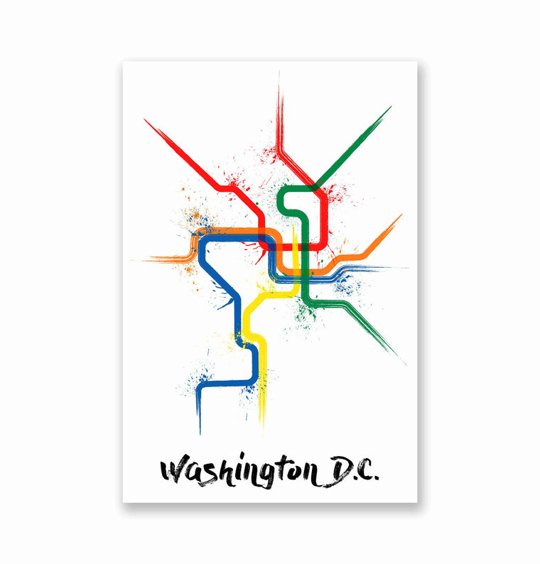 Washington DC Splatter Train Map Poster