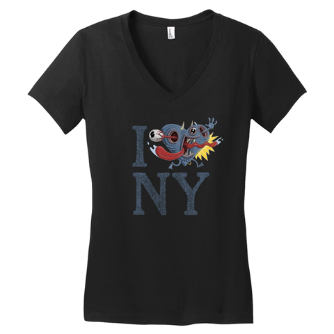 "Women's ""I Ack NY"" V-Neck Sort-Sleeved T-Shirt"