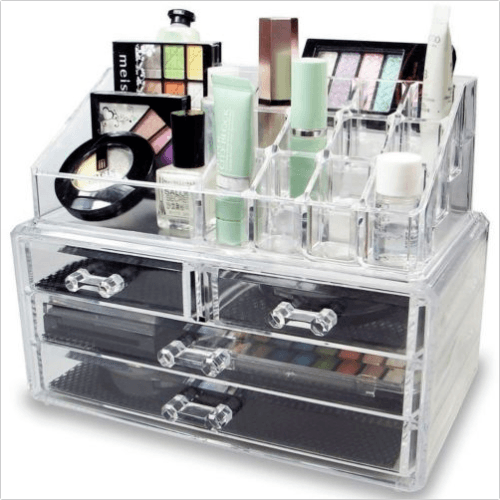 Acrylic Cosmetic Makeup Organizer Case Storage Brush Holder WIth Drawers