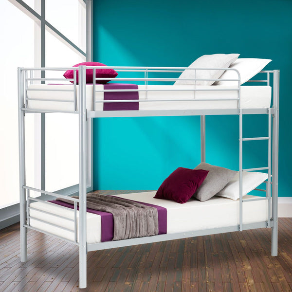 Twin Bunk Beds With Frame Ladder For Kids Toddler Children Bedroom