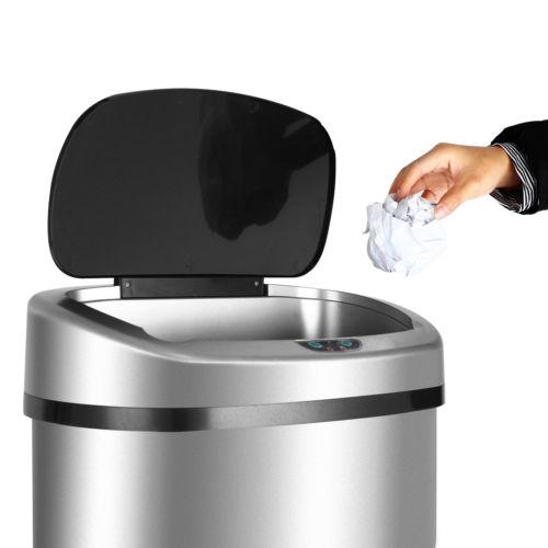 New 13 Gallon Touch Free Sensor Automatic Stainless Steel Trash Can Kitchen