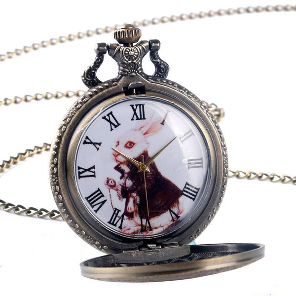 Vintage Bronze Alice in Wonderland Quartz Pocket Watch