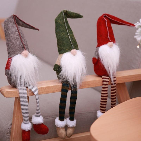 Christmas Decorations Dinner Party Cute Sitting Long legged Elf Toy