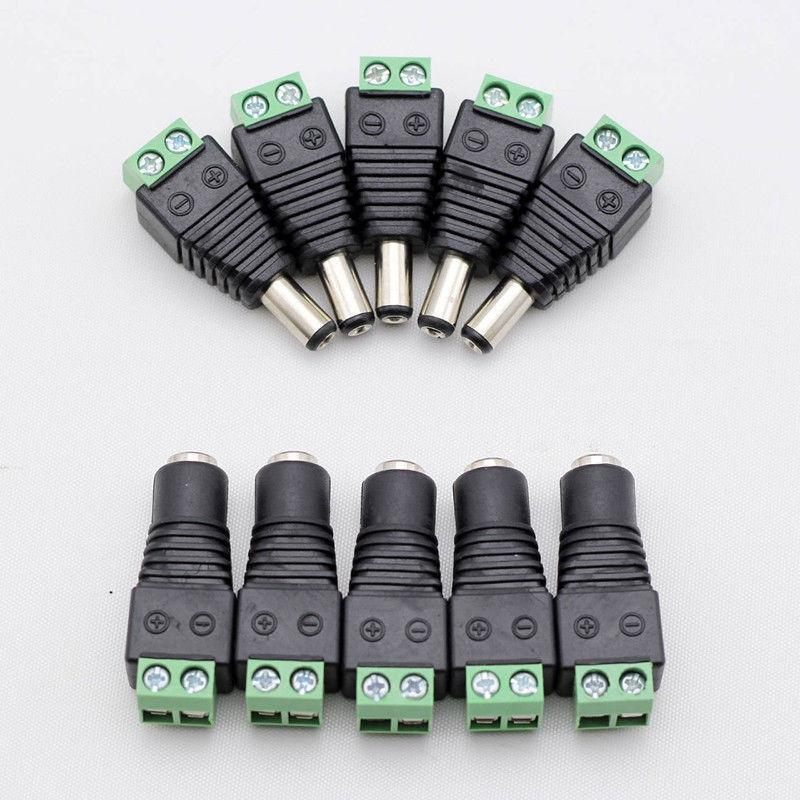 10 Pairs 12V 2.1x5.5MM Male Plus Female DC Power Jack Plug Adapter Connector for CCTV