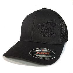 HIGH VOLTAGE - FLEXFIT TRUCKER HAT BLACK / BLACK - MOTORCULT - MotorCult