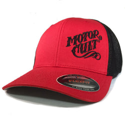 HIGH VOLTAGE - FLEXFIT TRUCKER HAT BLACK / RED - MOTORCULT - MotorCult