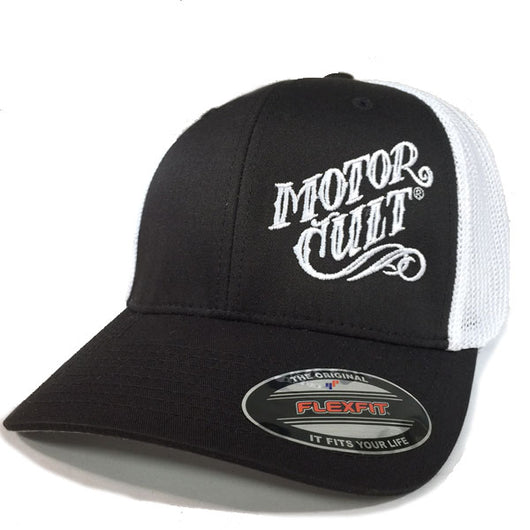 HIGH VOLTAGE - FLEXFIT TRUCKER HAT WHITE / BLACK - MOTORCULT - MotorCult