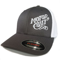 HIGH VOLTAGE - FLEXFIT TRUCKER HAT WHITE / GREY - MOTORCULT - MotorCult