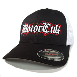 STERLING - FLEXFIT TRUCKER HAT WHITE / BLACK - MOTORCULT