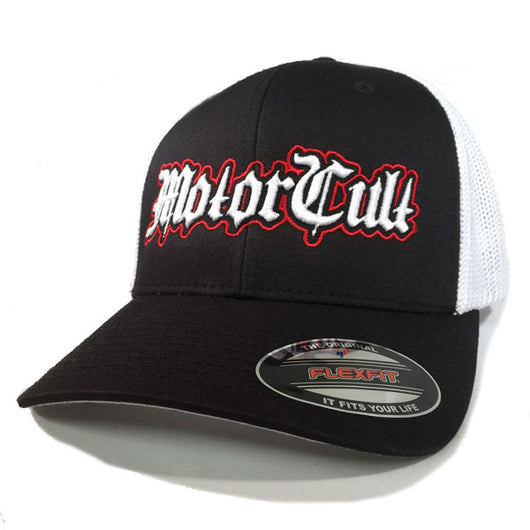 STERLING - FLEXFIT TRUCKER HAT WHITE / BLACK - MOTORCULT - MotorCult