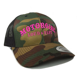 LOUD AND FAST - SNAP BACK CURVED BILL TRUCKER - CAMO - MOTORGIRL - MotorCult