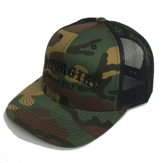 LOUD AND FAST - SNAP BACK CURVED BILL TRUCKER - CAMO/BLACK - MOTORGIRL - MotorCult