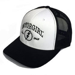ORIGINAL - SNAP BACK CURVED BILL TRUCKER - WHITE BLACK - MOTORGIRL - MotorCult