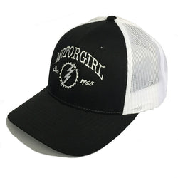 ORIGINAL - SNAP BACK CURVED BILL TRUCKER - BLACK WHITE - MOTORGIRL - MotorCult