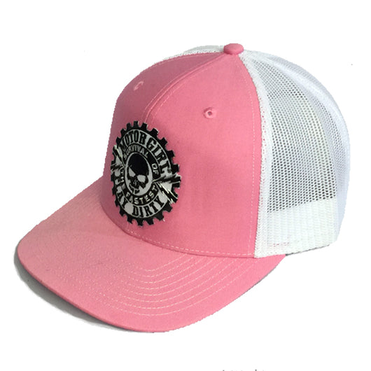 PLAY DIRTY - SNAP BACK CURVED BILL TRUCKER HAT - PINK / WHITE - MOTORGIRL - MotorCult