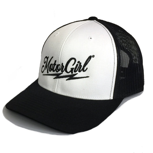 RIFF RAFF - SNAP BACK CURVED BILL TRUCKER BLACK WHITE - MOTORGIRL - MotorCult