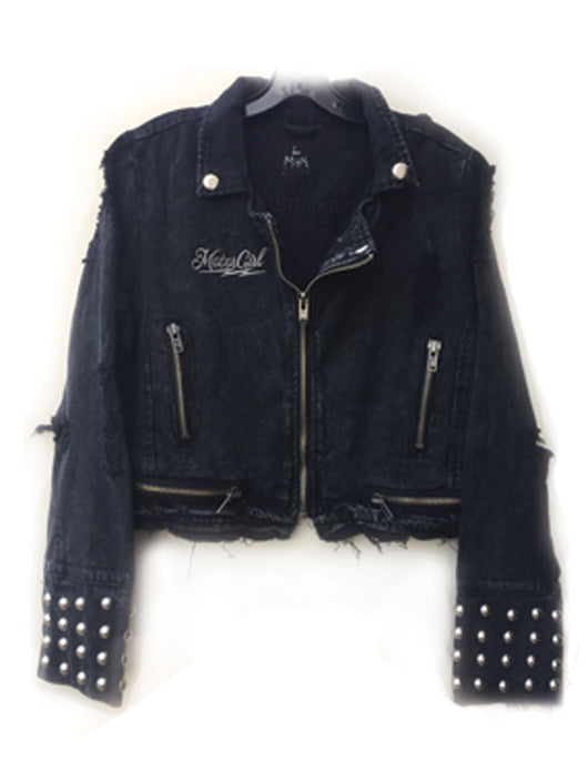 MOTORGIRL KUSTOMS - BLACK MOTO DENIM JACKET - MotorCult