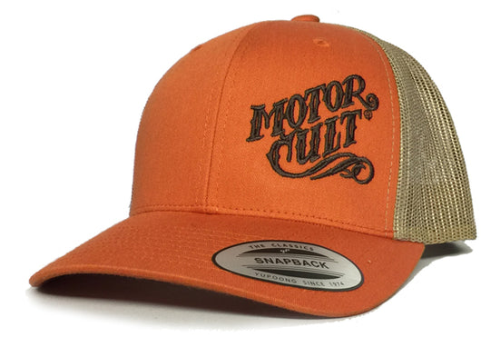 ORANGE HIGH VOLTAGE - SNAP BACK TRUCKER HAT - MOTORCULT - MotorCult