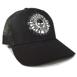 PLAY DIRTY - SNAP BACK CURVED BILL TRUCKER HAT - BLACK  / BLACK - MOTORGIRL - MotorCult