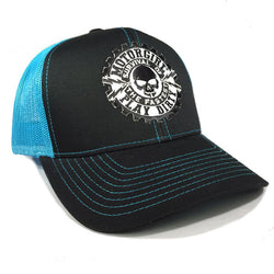 PLAY DIRTY - SNAP BACK CURVED BILL TRUCKER HAT - TURQUISE / BLACK - MOTORGIRL - MotorCult
