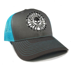 PLAY DIRTY - SNAP BACK CURVED BILL TRUCKER HAT - TURQUOISE / GREY - MOTORGIRL - MotorCult