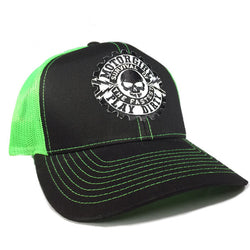 PLAY DIRTY - SNAP BACK CURVED BILL TRUCKER HAT - GREEN / BLACK - MOTORGIRL - MotorCult
