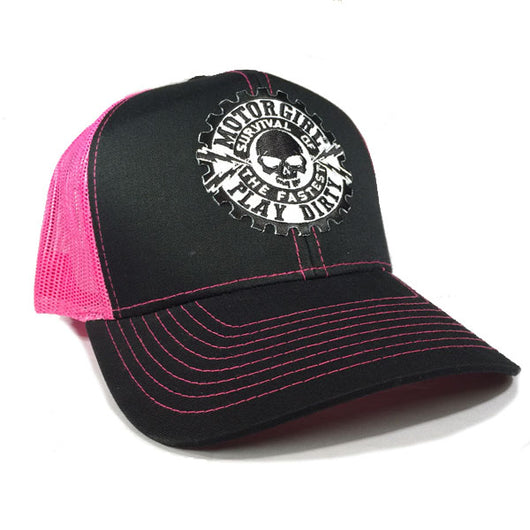 PLAY DIRTY - SNAP BACK CURVED BILL TRUCKER HAT - PINK / BLACK - MOTORGIRL - MotorCult