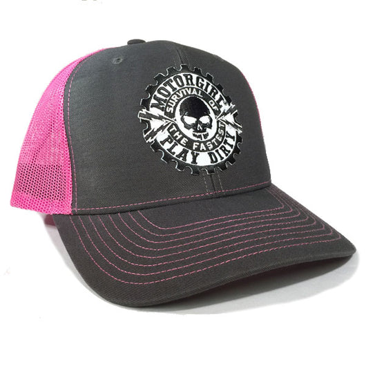 PLAY DIRTY - SNAP BACK CURVED BILL TRUCKER HAT - PINK / GREY - MOTORGIRL - MotorCult
