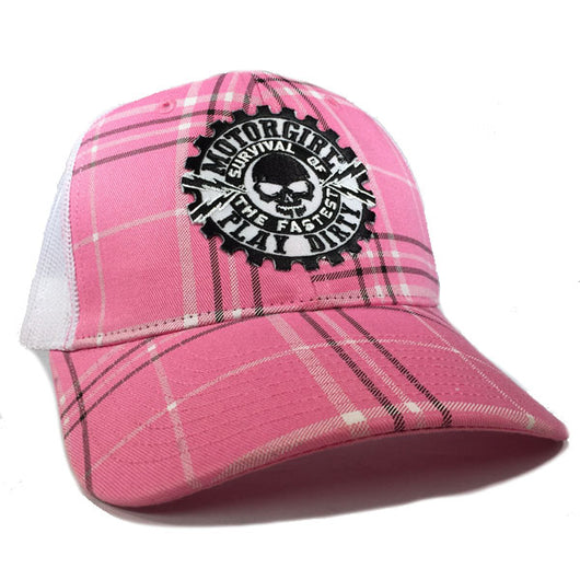 PLAY DIRTY - SNAP BACK CURVED BILL TRUCKER HAT - PINK PLAID - MOTORGIRL - MotorCult