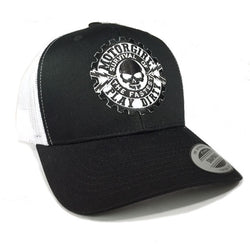 PLAY DIRTY - SNAP BACK CURVED BILL TRUCKER HAT - WHITE  / BLACK - MOTORGIRL - MotorCult