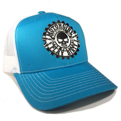 PLAY DIRTY - SNAP BACK CURVED BILL TRUCKER HAT - WHITE  / BLUE - MOTORGIRL - MotorCult