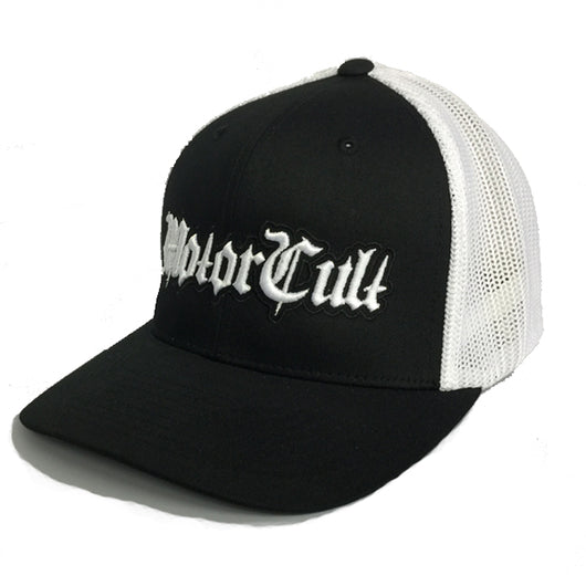 STERLING - FLEX FIT MESH BACK HAT BLACK WHITE - MOTORCULT - MotorCult
