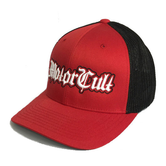 STERLING - FLEX FIT MESH BACK HAT RED BLACK - MOTORCULT - MotorCult